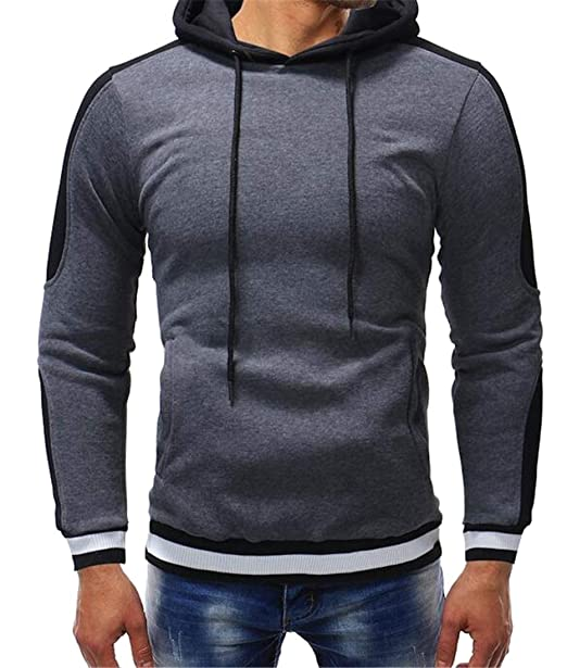 d2b7f5f7e8340 Jofemuho Mens Color Blocked Drawstring Kangaroo Pocket Athletic Plus Size  Pullover Hooded Hoodie Sweatshirt Dark Grey