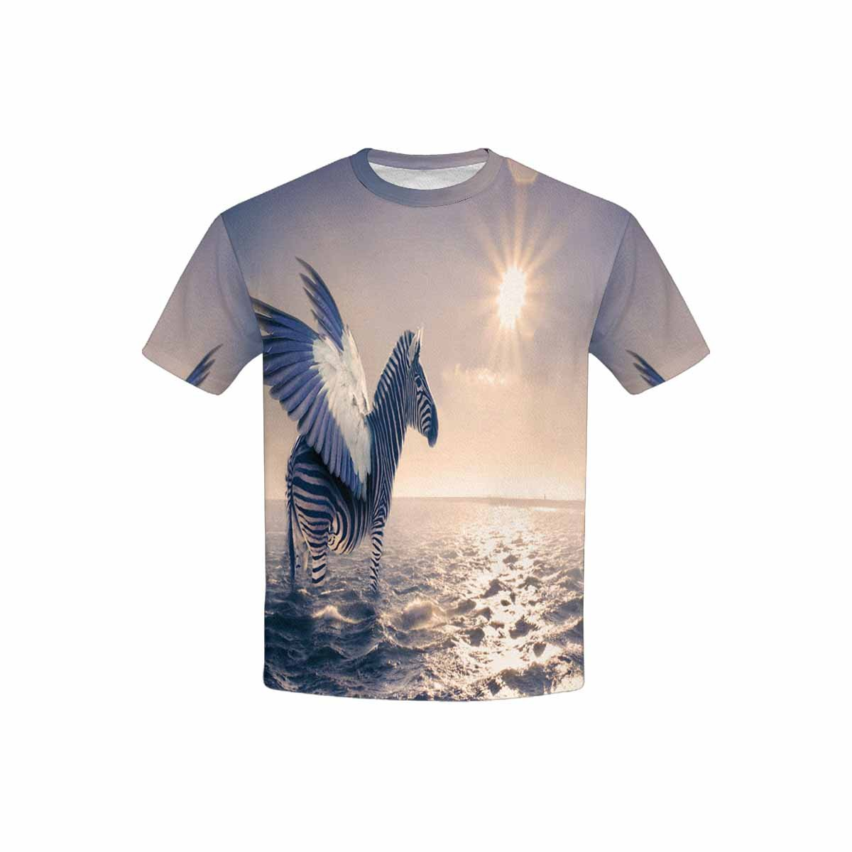 XS-XL INTERESTPRINT Zebra with Wings in The Sea Sunset Kids T-Shirt