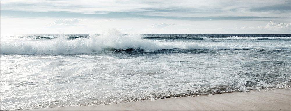 """Glasbild /""""Meer Strand/"""" von DEKOGLAS 125x50 aus Glas Wohnzimmer Wand Bild modern"""
