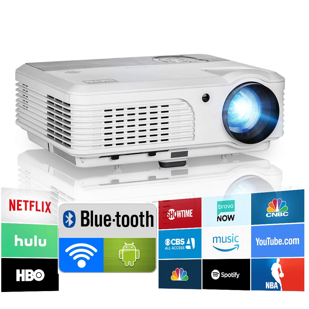 2019 Bluetooth Projector WiFi Android LCD LED Smart Video Projectors Home Theater 4400 Lumens Support HD 1080P Airplay HDMI USB RCA VGA AV for Smartphone DVD Game Consoles Laptop Outdoor Movie