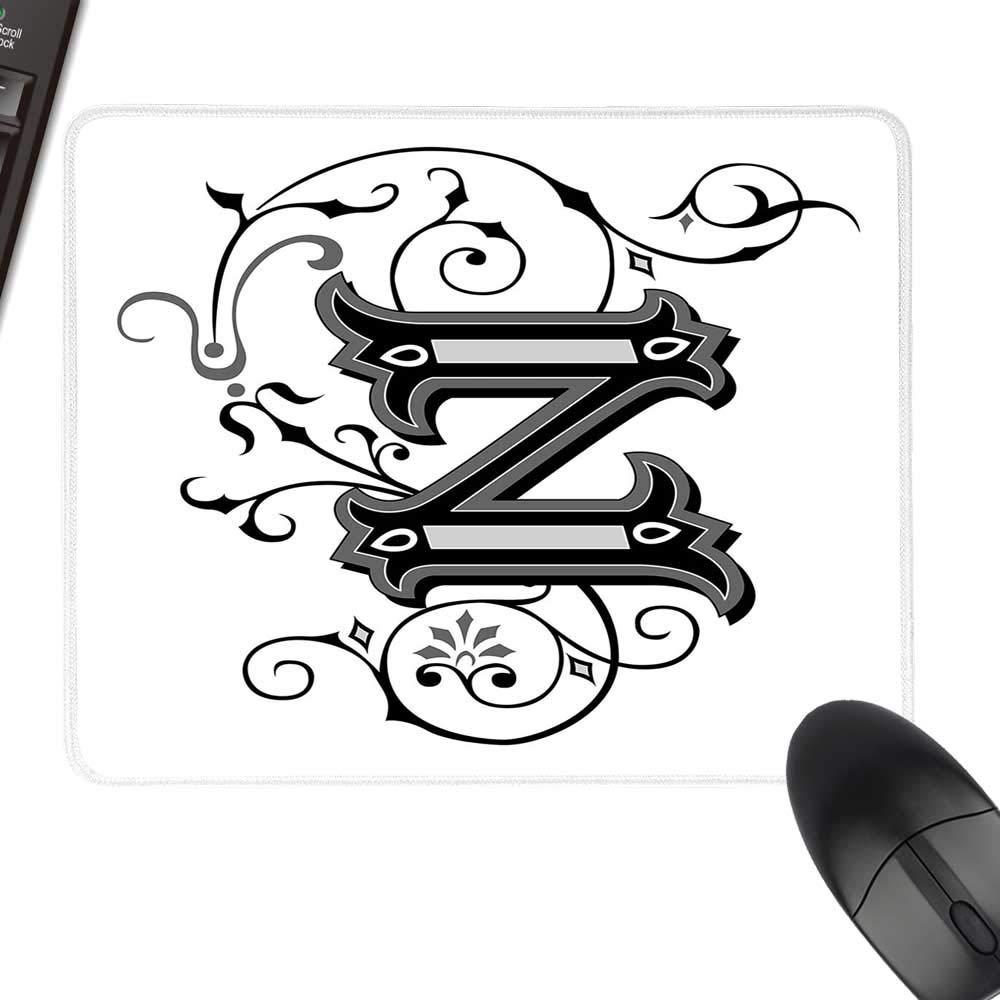 文字Z ゲーム用マウスパッド 海洋テーマ Z トロピカル アクアティック 野生動物 航海 フォント コンピュータ ノートパソコン オフィス ホーム用 ペールブルー アイボリー ダークコーラル 23.6