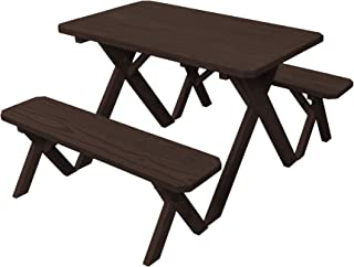 product image for Pressure Treated Pine 4 Foot Cross Leg Picnic Table with Detached Benches- Walnut Stain