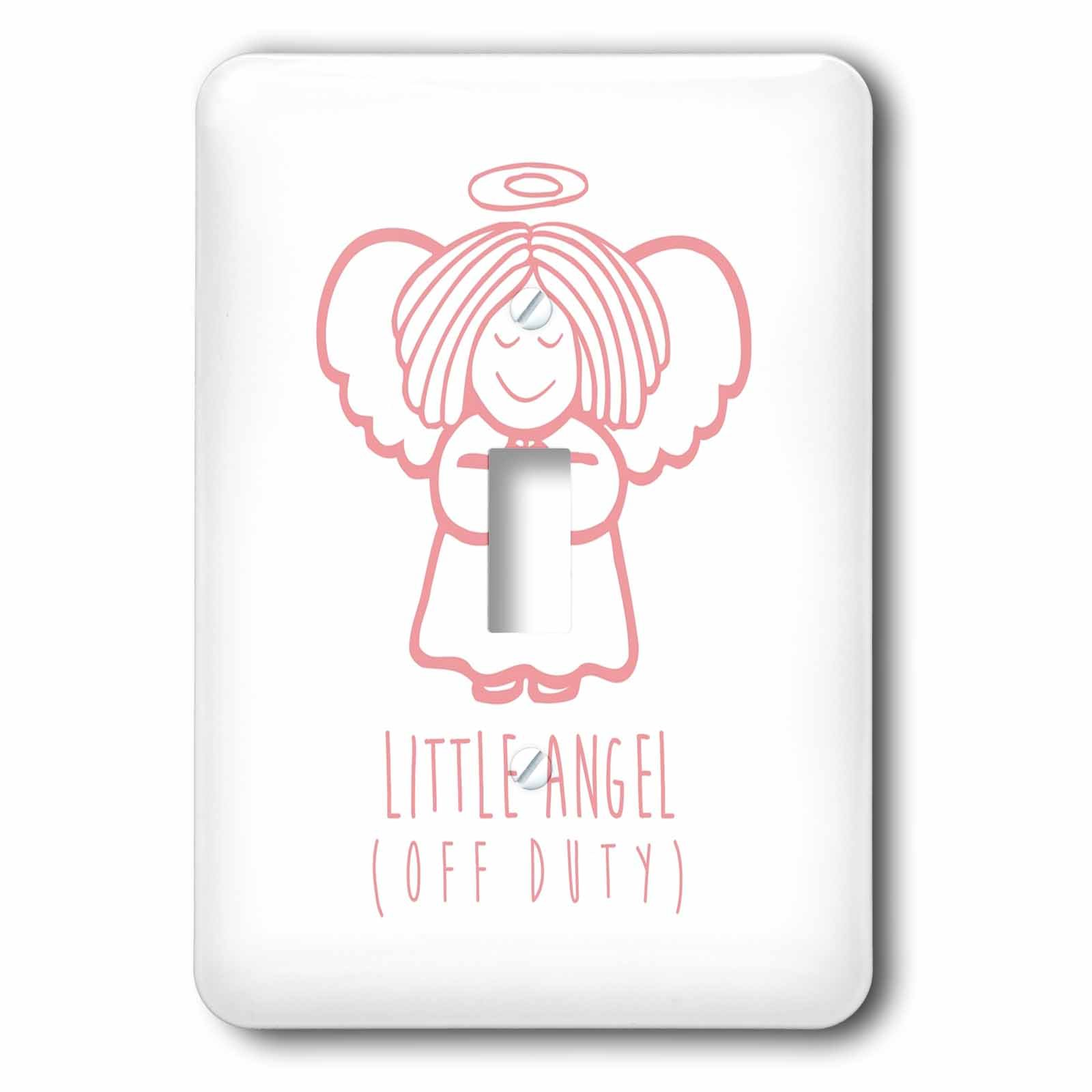 3dRose Russ Billington Designs - Little Angel- Off Duty- Cute Angel drawing in Pink and White - Light Switch Covers - single toggle switch (lsp_261896_1) by 3dRose