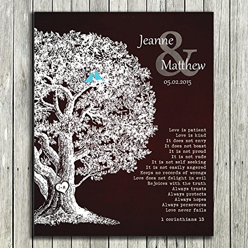 8x10 Unframed Print Personalized Gift Family Tree Anniversary Plaque 1 Corinthians 13 Carved Initials Love Is Patient Oak Tree Brown Background Custom Wedding Art by Custom Wedding Art