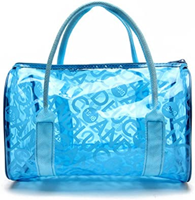 Summer Waterproof PVC Beach Bag Transparent Tote Bag Clear Stadium Bag for Women Girls Kids Pink
