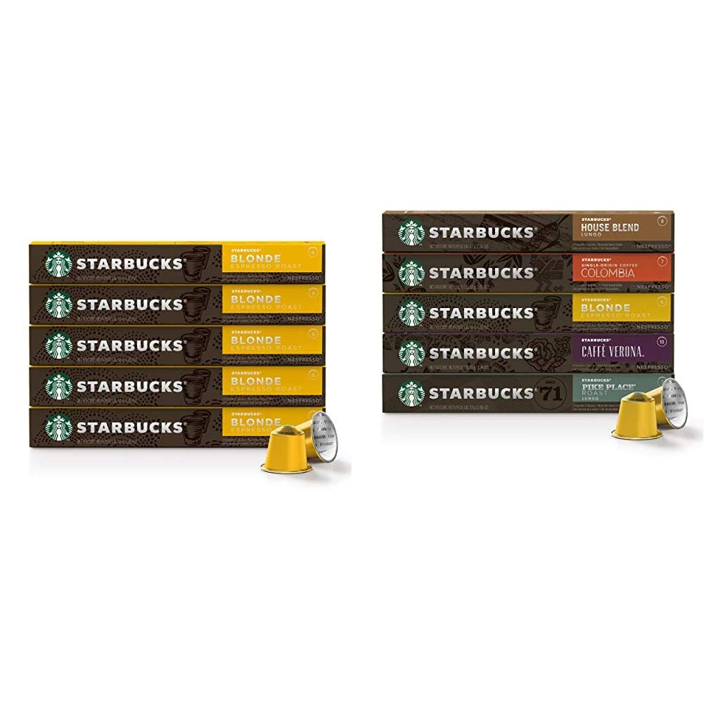 Starbucks by Nespresso, Blonde Roast Espresso (50-count single serve capsules) & Favorites Variety Pack (50-count single serve capsules, compatible with Nespresso Original Line System)