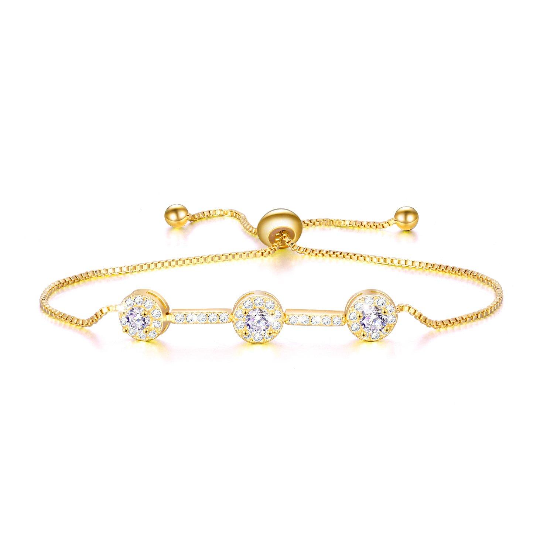 WINNICACA Yellow Gold Dainty Cubic Zirconia Adjustable Bar Bracelet Fashion Jewelry for Women Girls (Yellow Gold)