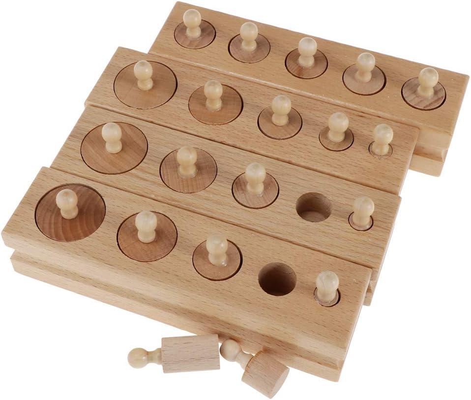 B Blesiya Montessori Materiales Sensoriales Torre Rosa Cubos de Madera Cilindros: Amazon.es: Juguetes y juegos
