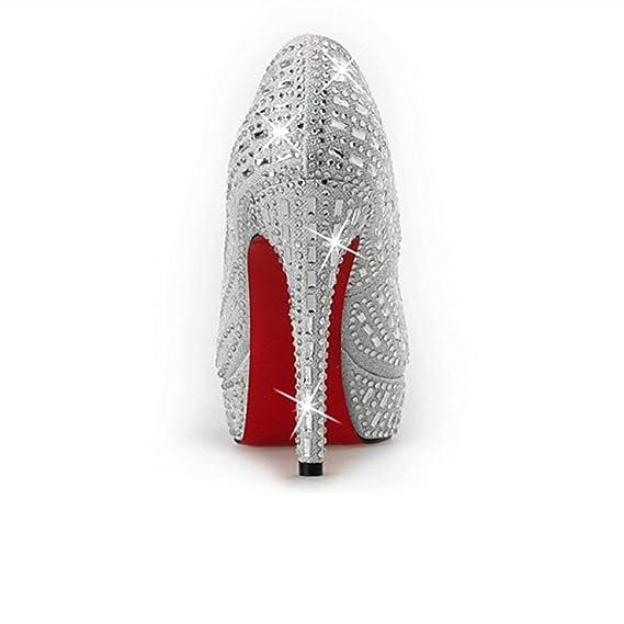 Heels Eeayyygch Nupciales Zapatos Crystal High De La Boda 00O7qrw