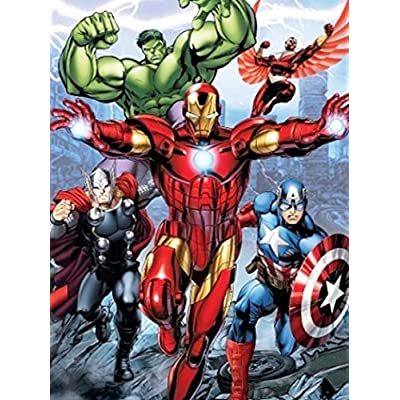 Disney Avengers Initiative Iron Man, Thor, Hulk, and Captain American Super Soft Plush Baby Size Throw Sherpa Blanket 40x50 Inches: Home & Kitchen