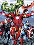 Disney Avengers Initiative Iron Man, Thor, Hulk, and Captain American Super Soft Plush Baby Size Throw Sherpa Blanket 40x50 Inches