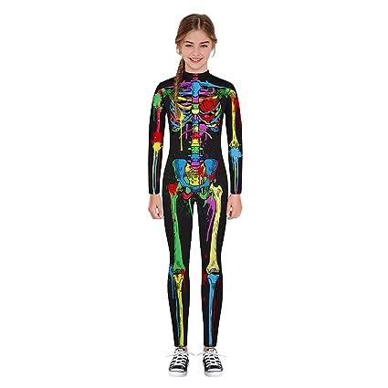 Leezeshaw - Disfraz de Esqueleto para niños y niñas, Unisex ...