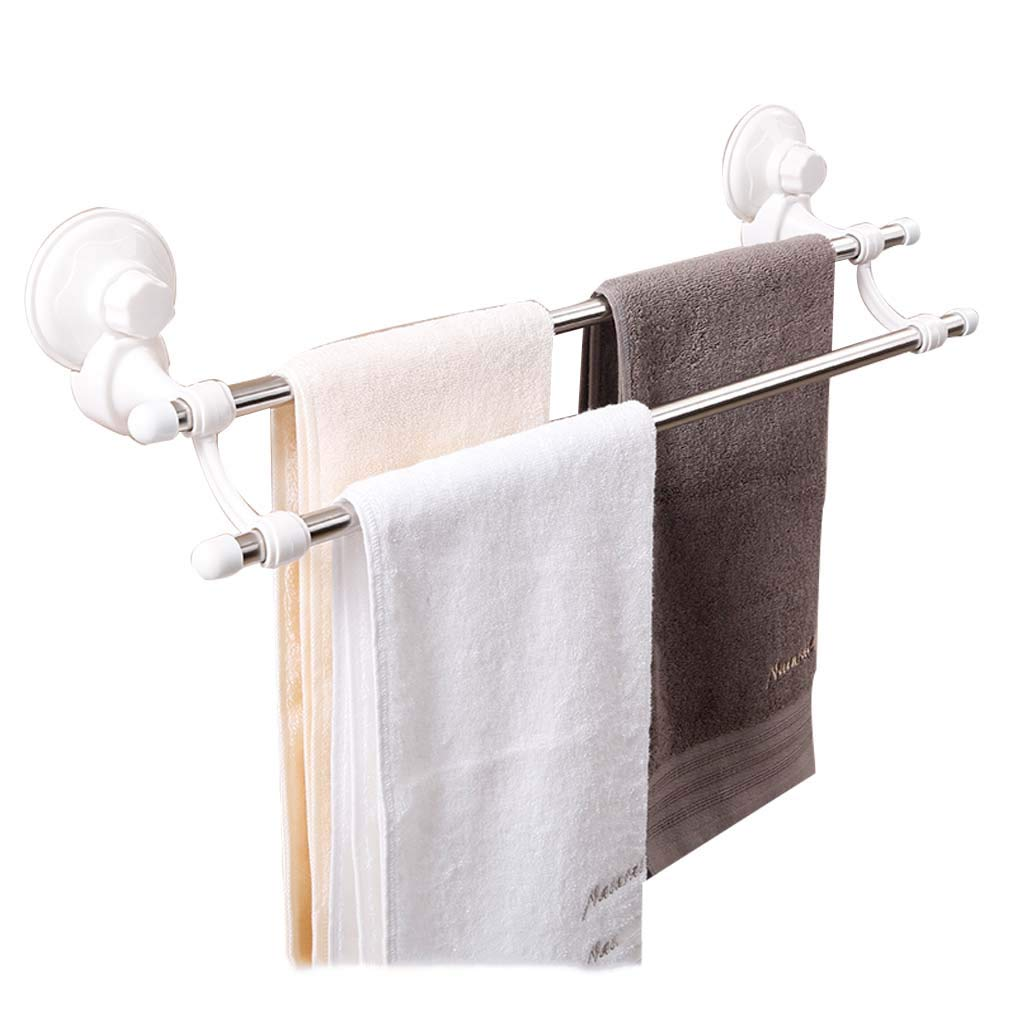 Towel Racks for Bathroom Shelf Towel Bar Holder with Hooks Wall Towel Racks with Suction Cups for Bathroom Mounted Multifunctional Roscloud@ (Color : White, Size : L-61.3CM)