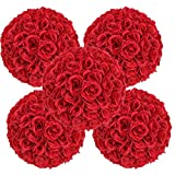 10 Pack , 9.84'' Red Artificial Rose Satin Flower Ball for Home Wall Wedding Party Ceremony Decoration By Ben Collection