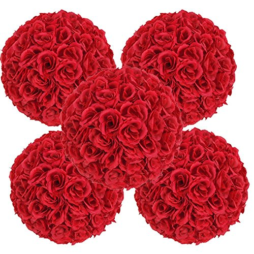 Set of 5 Pack , 9.84inch Artificial Rose Satin Flower Ball for Home Wall Wedding Party Ceremony Decoration , Red By Ben Collection (Red Rose Collection)