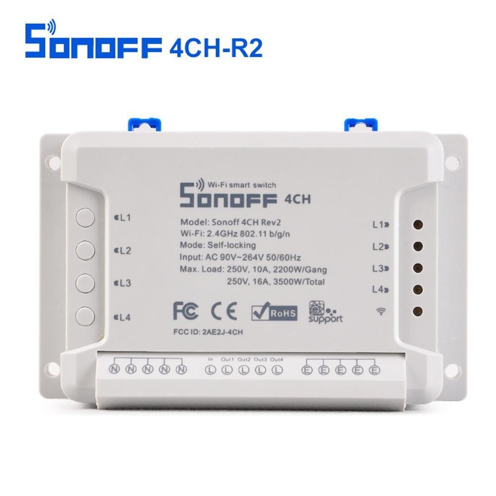 Flower205 Sonoff 4CH R2 -Smart Switch 4 canaux 433 MHz 2.4G Wifi Té lé commande Smart modules d'automatisation pour les appareils mé nagers 10a.