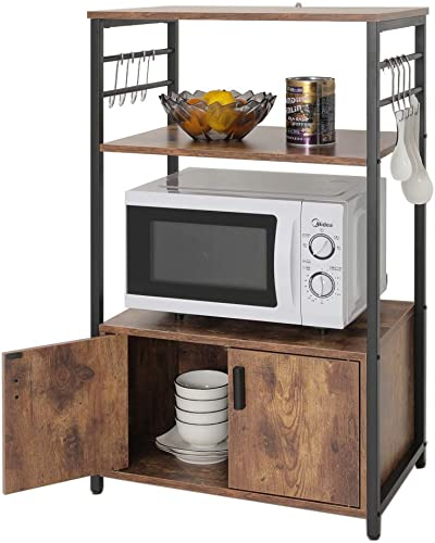 Iwell Kitchen Baker s Rack with 1 Cabinet and 8 Hooks, 3-Tier Utility Storage Shelf, Microwave Oven Stand, Industrial Storage Cabinet, Bookshelf for Living Room, Bathroom Cabinet, ZWJ003F