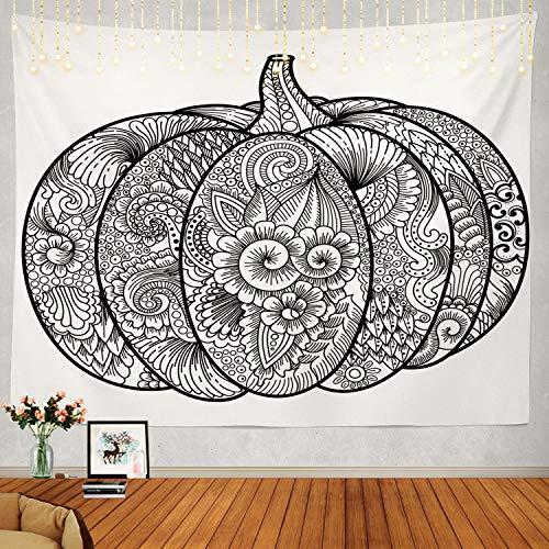 Shrahala Black and White Tapestry, Halloween Pumpkin Coloring