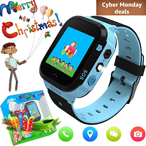 Kids Smart Watch with GPS Tracker, Camera Games Flash Night Light Touch Anti-lost Alarm Smart Watch Bracelet Christmas Gift for Girls Boys Compatible with iPhone Android (002 Blue without Pedometer) Christmas Lights Locator