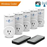 Goronya Wireless Remote Control Outlet Switch, Electrical Socket for Household Appliance (Learning Code, 5 Plug/2 Remote)