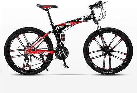DSAQAO Bicicleta De Montaña Plegable 24 Pulgadas,21 24 27 30 Velocidad 10-Spoke Disc Bicicleta Suspensión Completa MTB Bicicletas para Estudiantes Adultos Adolescentes: Amazon.es: Deportes y aire libre