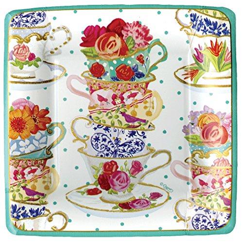 Squares Tea Plate (Entertaining with Caspari Tea Cups Square Salad/Dessert Plates, Multicolor, 8-Pack)