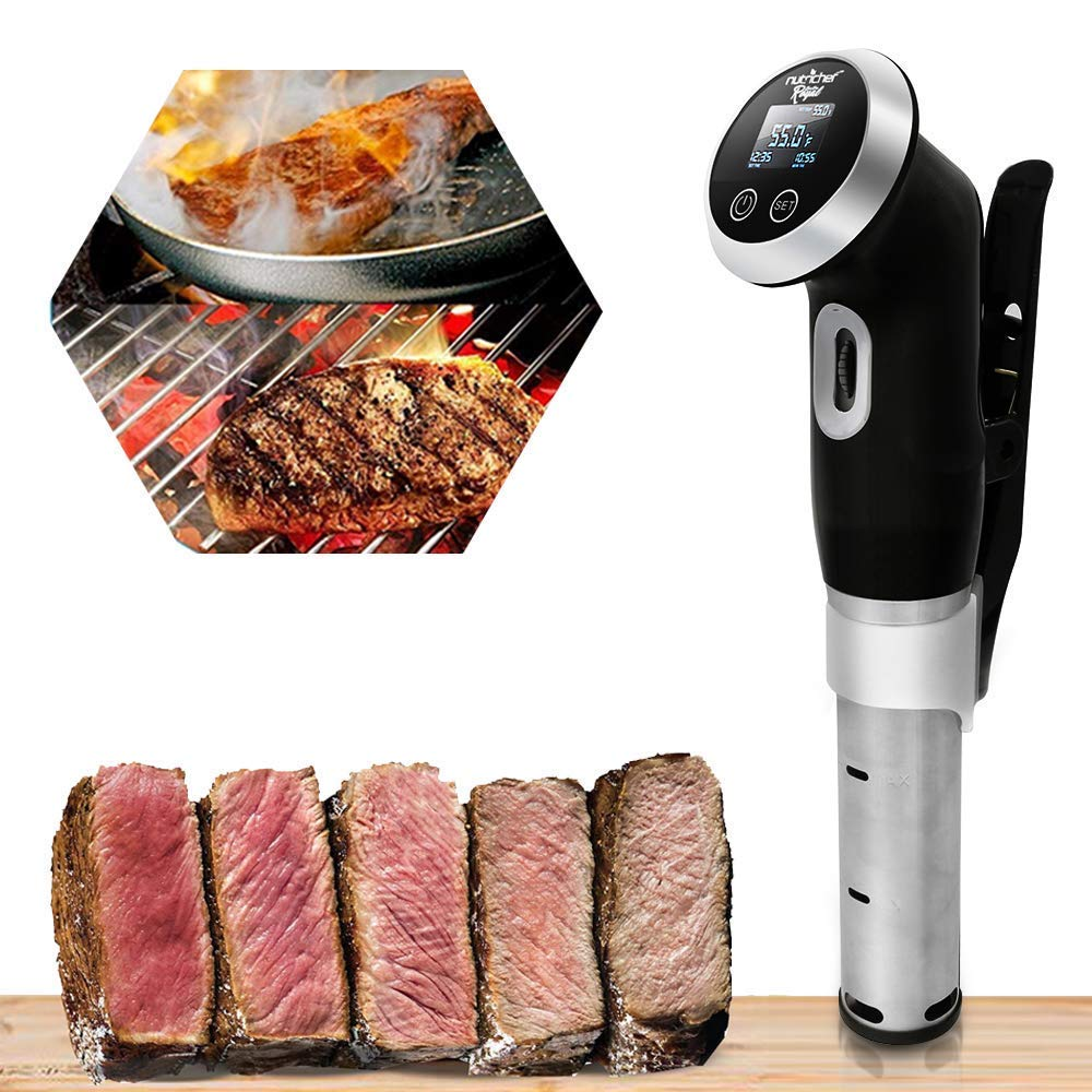 Sous Vide Immersion Circulator Cooker - 1000 Watt Stainless Steel Thermal Cooking Machine  Digital Time / Temperature - Clips On Deep Container - NutriChef by Nutrichef (Image #7)