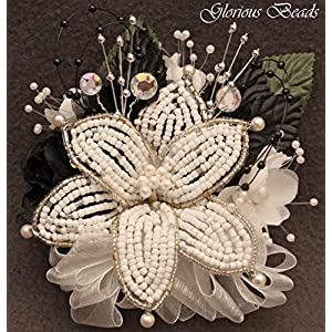 Corsage pin on Black & white BEADED Lily with roses, beads, and rhinestones. Also sold with matching silk boutonniere. Other colors offered in my Amazon store 29