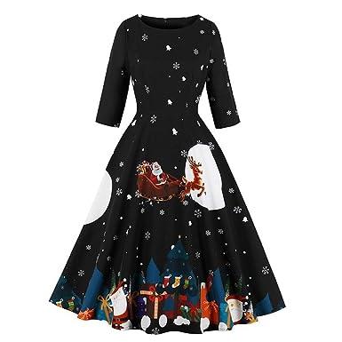 Huaya Vestido de Fiesta de Navidad para Mujer, Cuello Polo ...