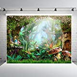 7x5ft Fairy Tale Forest Photo Backdrops Vinyl Mushrooms Photography Booth Background Spring