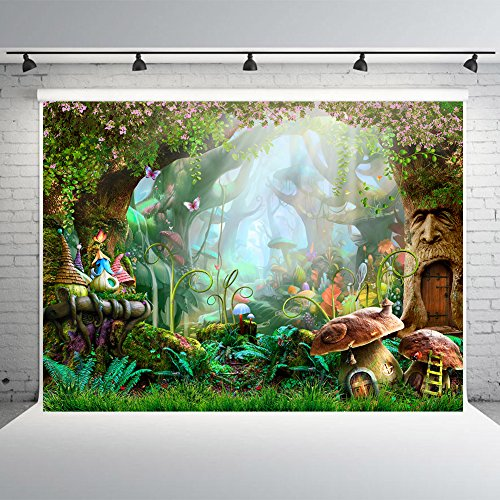 7x5ft Fairy Tale Forest Photo Backdrops Vinyl Mushrooms Photography Booth Background for Spring