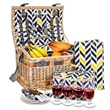 LIVIVO 4 Person Traditional Picnic Wicker Hamper Willow Basket With Cooler Bag Geo XL Extra Large - Includes Ceramic Plates, Glasses, Cutlery, Bottle Opener, Napkins, Cooler Bag & Picnic Blanket Mat