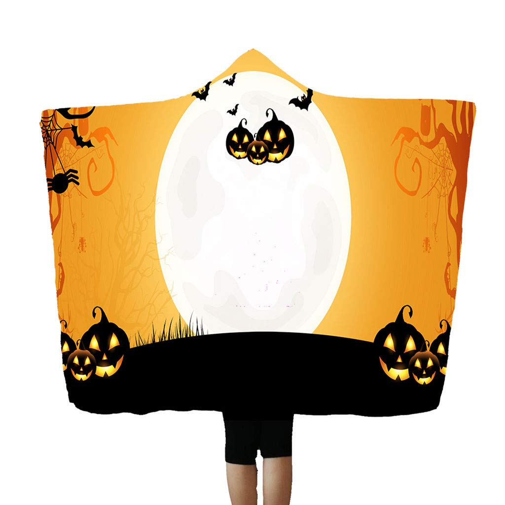 Flannel Blanket Soft Halloween Hooded Blanket 3D Funny Black Cat and Pumpkin Printed Wearable Blanket Soft Wrap Throw Blanket Lightweight Bathrobe One Size Fits All Happy Halloween-r, 59''x78.7'' by charmsamx