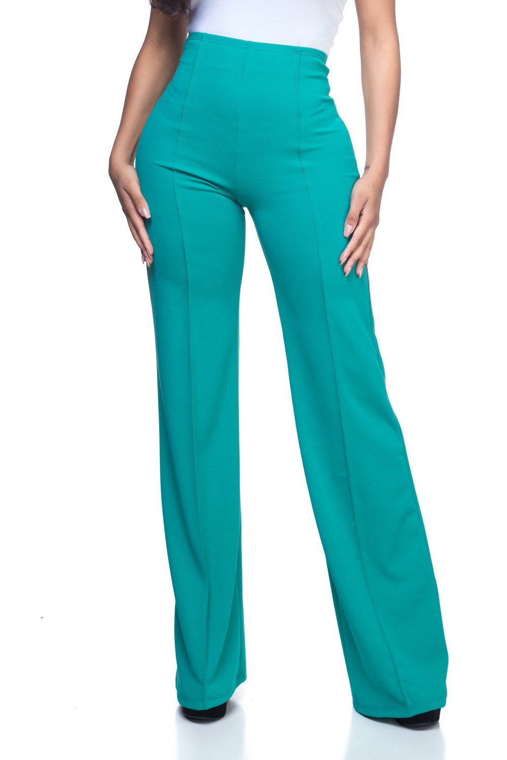 Women's Junior Plus J2 Love High Waist Bell Bottom Flare Pants, 1X, Emerald