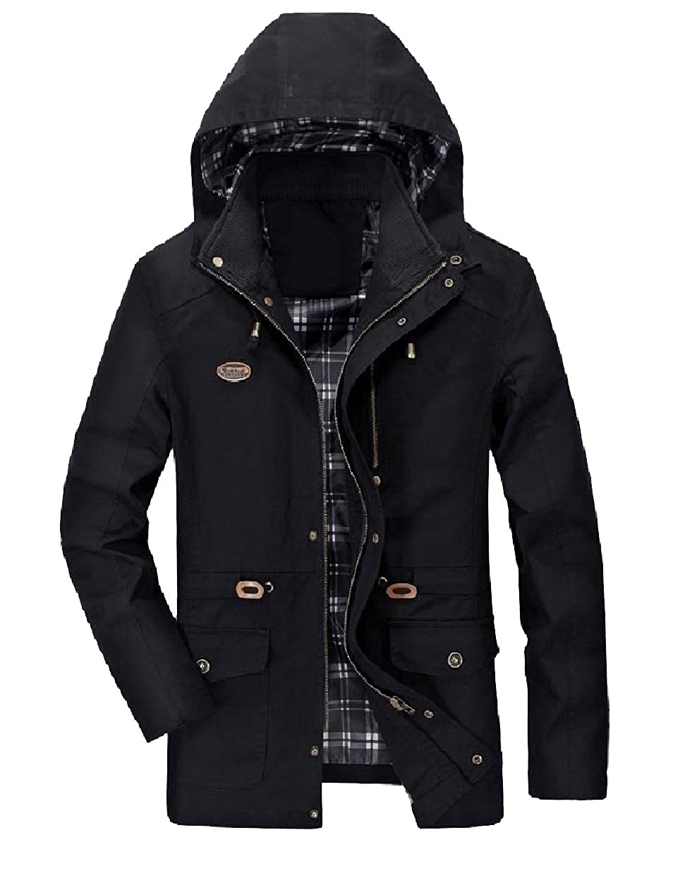 Abetteric Mens Light Weight Plus-Size Wash Trench Mid-Long Parka Jackets