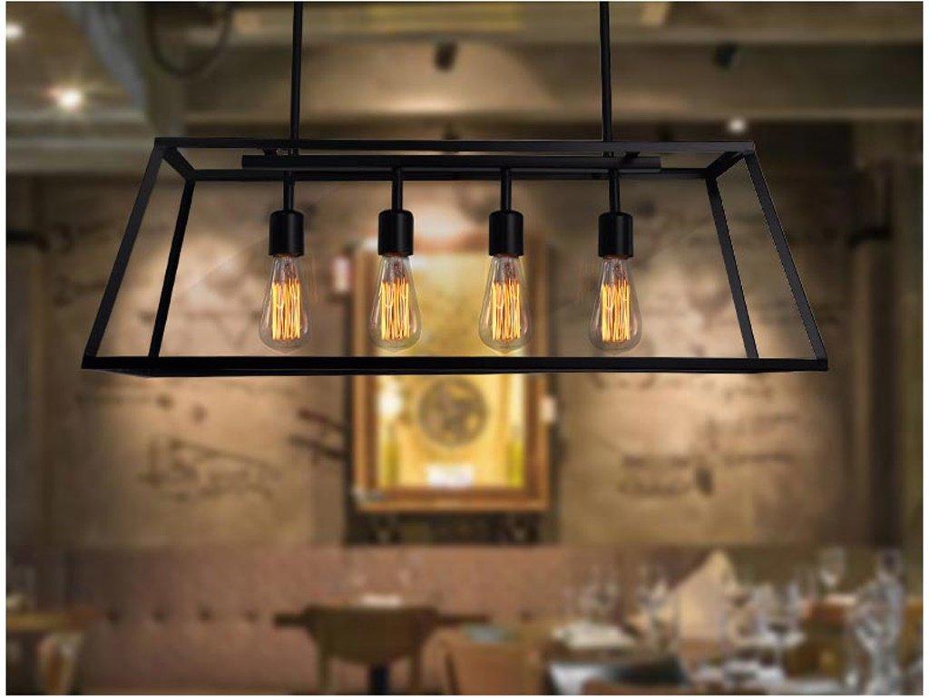 GH@ Armaz/ón rectangular de cristal industrial Chandelier Restaurant Hot Pot Air Bar