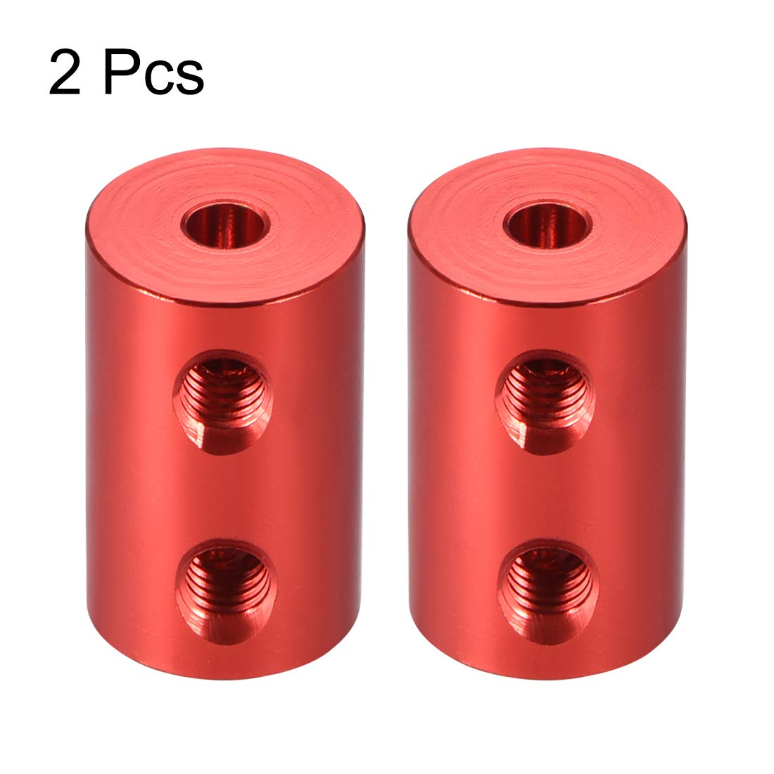 sourcing map Shaft Coupling 6mm to 6mm Bore L22xD14 Robot Motor Wheel Rigid Coupler Connector Silver Tone 2 Pcs