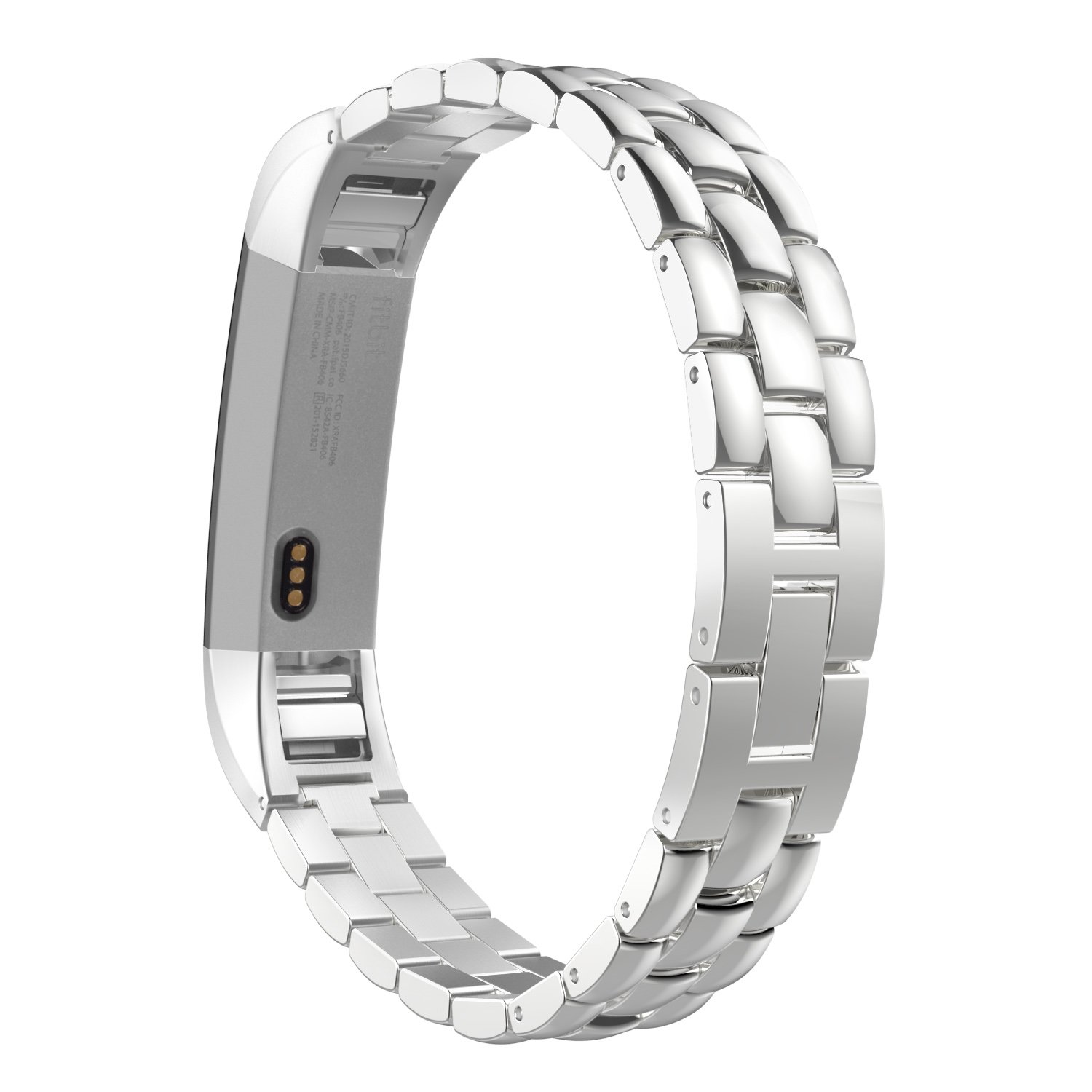 MoKo Fitbit Alta HR and Alta Band, Universal Stainless Steel Replacement Watch Bracelet Band Strap with Fold Over Clasp for Fitbit Alta / Fitbit Alta HR, Tracker NOT Included - SILVER