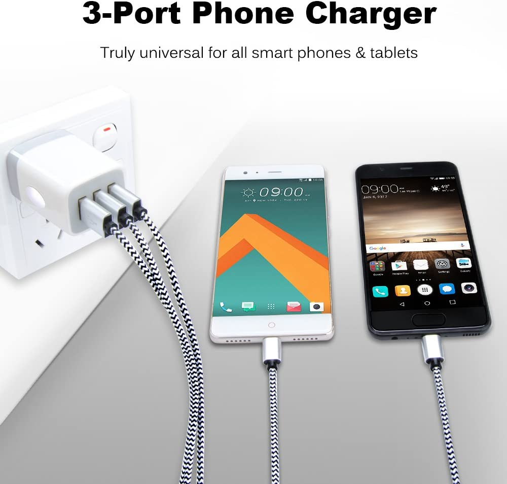USB Wall Charger,Sicodo 3-Port USB Charger 2 Pack 3.1Am Block USB Adapter Power Plug Charging Station Box Compatible with iPhone X//8//7,Samsung Galaxy S10,S10+,S9,S8,S7 Edge and Other USB Plug Devices