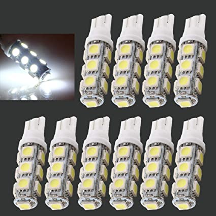 Qasim Car Light Bulbs T10 W5w 194 921 912 13 Smd 5050 Led Replacement Auto Car Rv Truck Led Signal Map Dome Dashboard Light Bulbs White 12v Dc Pack