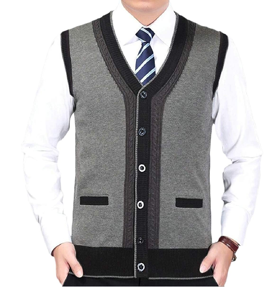 ZXFHZS Mens Fashion Thicken Single Breasted V-Neck Sleeveless Knitted Vest