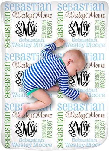 CarefreeTees Personalized Baby Name Blanket Monogrammed Gift (Vine Monogram - Earthy)
