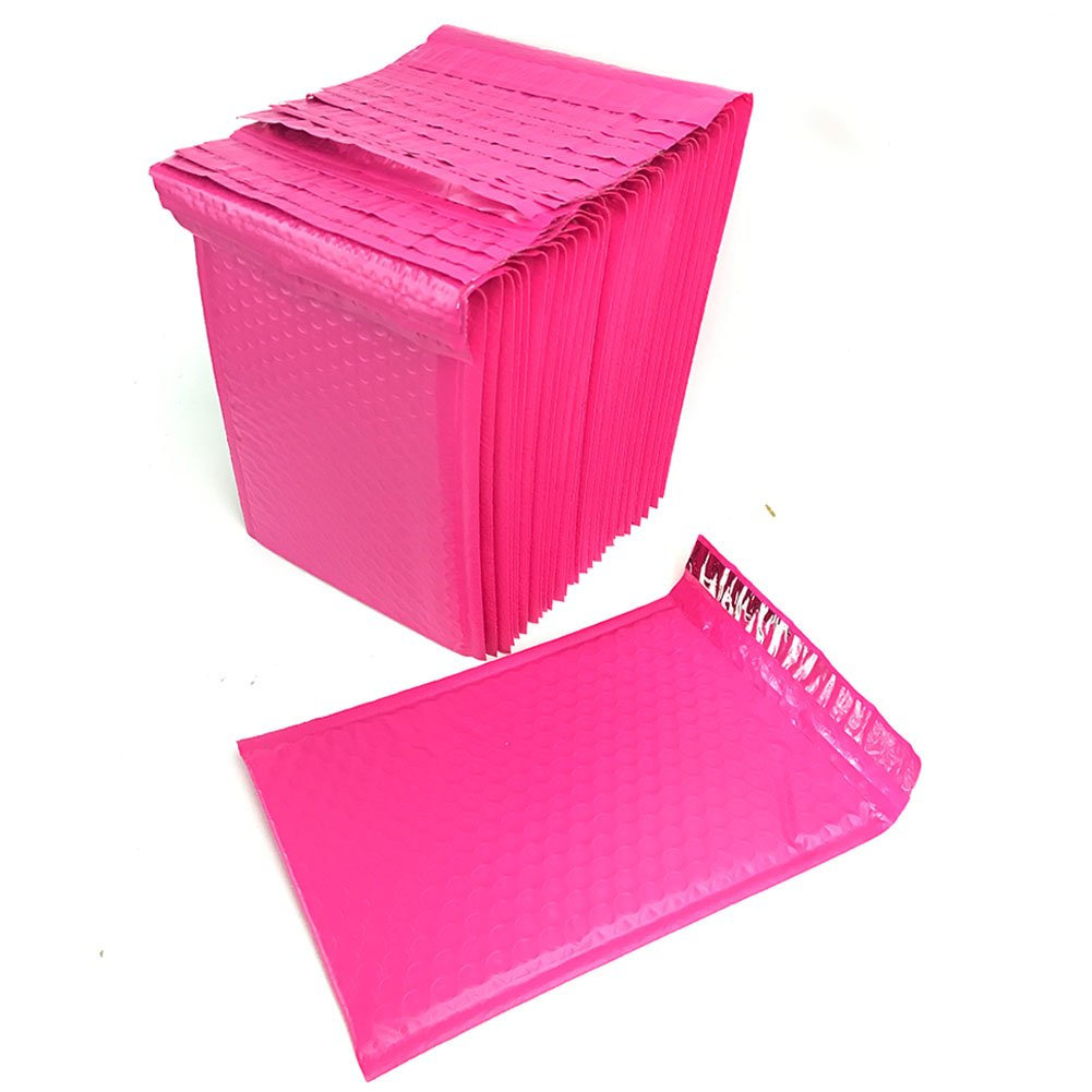 SES.CO 6x9 Inch Hot Pink Padded Envelopes,Large Poly Bubble Mailer with Waterproof & Tear-Resistant,Sturdy Thick Mailing Bag for Business and Private Use,30 Pack