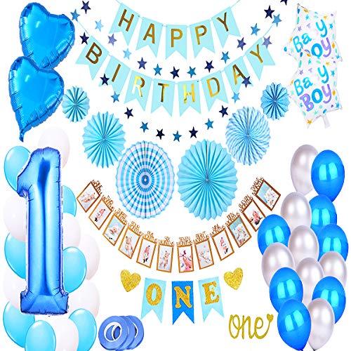 1st Birthday Boy Decorations Kit, Baby Boy 1st