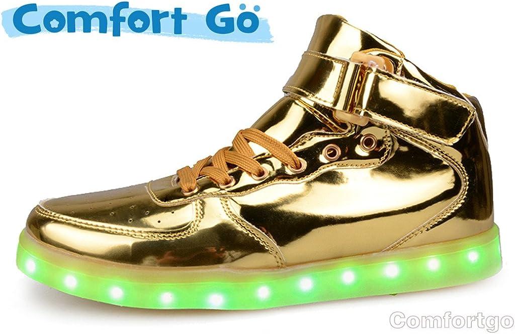 Comfortgo Big Kid Dazzle LED Light Up Shoes Girl Boy USB Charging Fashion Dance Sneakers