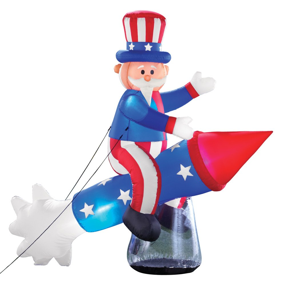 Collections Etc Inflatable Patriotic Uncle Sam on Rocket Firework - Fourth of July Outdoor Décor for Yard or Porch
