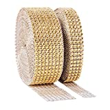 1 Roll 8 Row 10 Yard and 1 Roll 4 Row 10 Yard Acrylic Rhinestone Diamond Ribbon for Wedding Cakes, Birthday Decorations, Baby Shower Events , Arts and Crafts Projects (2 rolls Silver) (20 Yard, Gold)