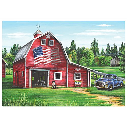 Hoffmaster 311109 Patriotic Barn Placemat, 100% Recycled Paper, 9-3/4