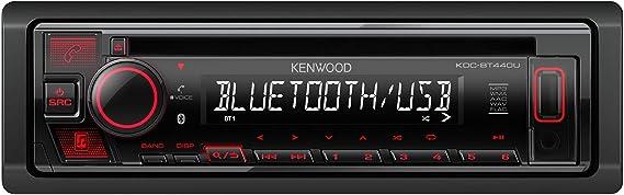Kenwood Kdc Bt440u Cd Car Radio With Bluetooth Hands Free Kit High Performance Tuner Sound Processor Usb Aux Spotify Control 4 X 50 Watt Button Light Red Black Navigation Car Hifi