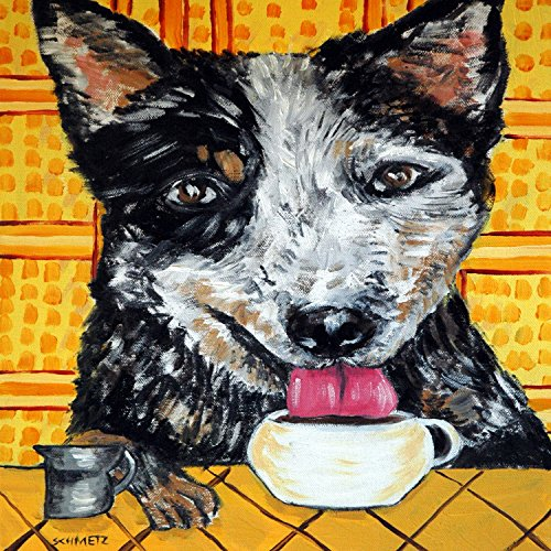 Australian Cattle dog at the Cafe Coffee Shop dog art tile coaster gift